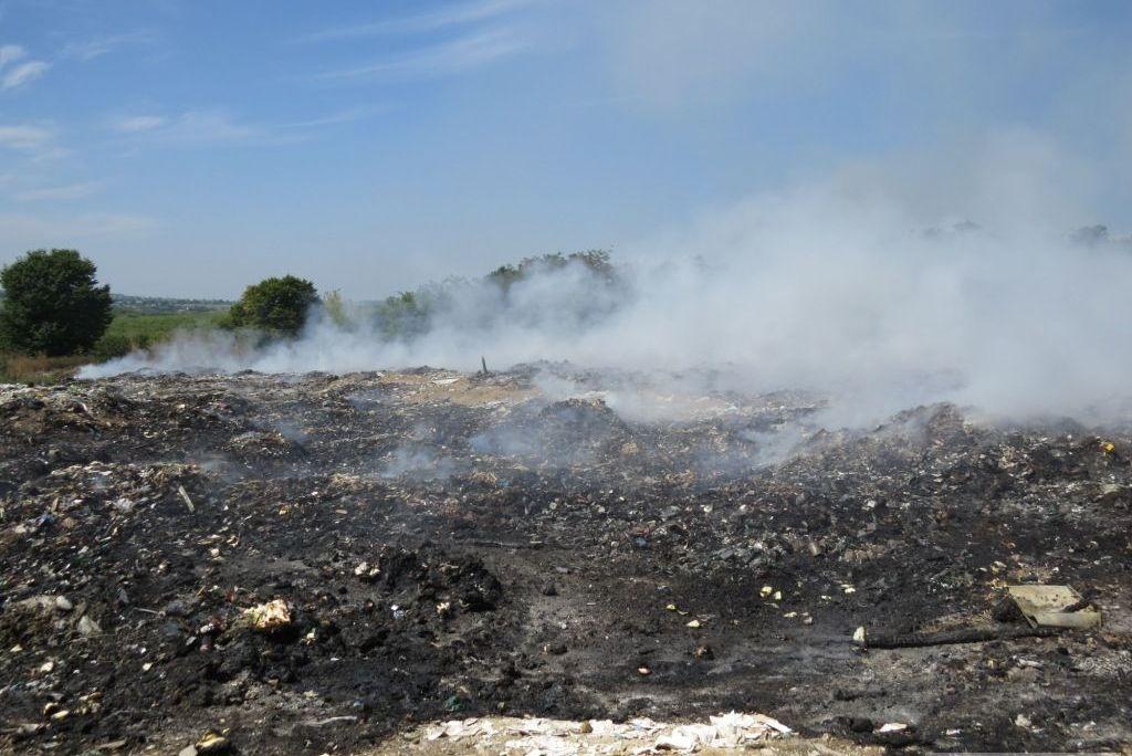 Пожар на свалке в Ладыжине: дым укутал ближайшие села, фото-1